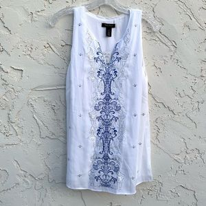 White House Black Market White Sleeveless Top